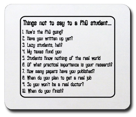 5 annoying statements or questions for graduate students